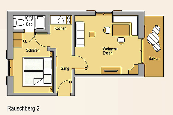 Floor plan from the apartment Rauchberg 2